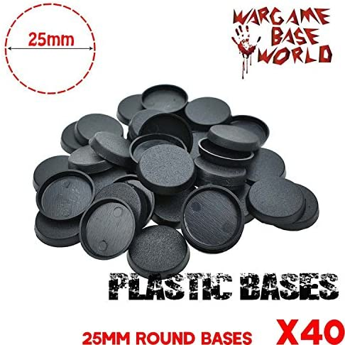 Thirty 30 40mm Lipped Round Bases for Wargaming Roleplaying Black Plastic NEW