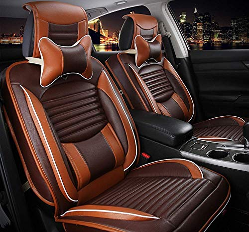 Easy to Clean PU Leather Car Seat Cushions 5 seats Full Set - Anti-Slip Suede Backing Universal Fit Car Seat Covers for Both Fabric and Leather Car Seats,Brown: