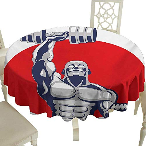 Printing round tablecloth 65 Inch Fitness,Muscular Man Lifting Barbells Body Builder Icon Strength Work Out Powerful,Silver Red White Suitable for Party,outdoors,Farmhouse,coffee shop,restaurant More