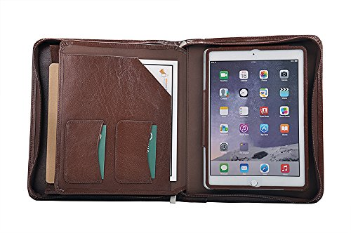 Deluxe Leather Organizer Padfolio for iPad Air 2 / iPad Air and A5 Paper by XIAOZHI
