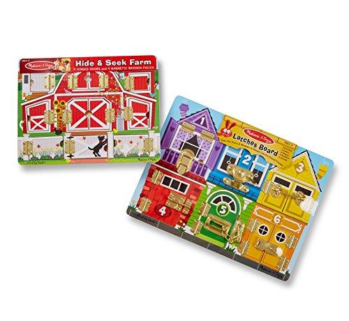 Melissa & Doug Magnetic Farm Hide and Seek and Deluxe Latches Board Bundle (Melissa & Doug Magnetic Hide And Seek Board)