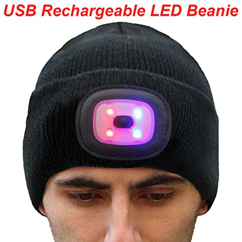 EZGO Extremely Bright LED Lighted Beanie Cap, Unisex Lighted Headlamp Hat, Perfect Hands Free Flashlight for Hunting, Camping, Jogging, Grilling, Handyman Working and More