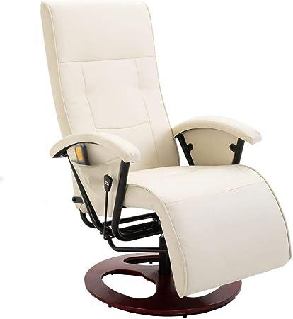 vidaXL Fauteuil Électrique de Massage Similicuir Blanc Crème Chaise Massante