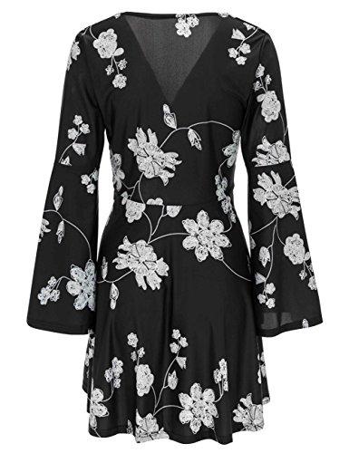 Bess Les Manches Col V Femmes De Mariée Flounce Écharpe Courte Robe Club Floral Casual Noir