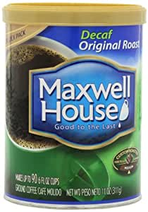 Maxwell House Decaf Original Ground Coffee, 11-Ounce Cannister (Pack of 3)