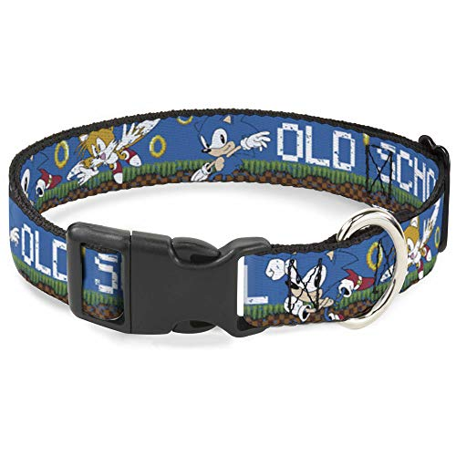 (Buckle Down Cat Collar Breakaway Sonic Tails Poses Old School Weathered Blue White 6 to 9 Inches 0.5 Inch Wide)