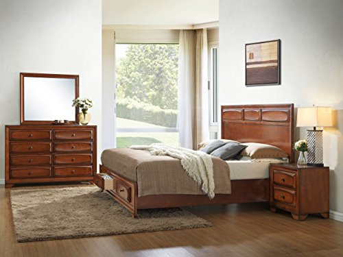 Roundhill Furniture Oakland 139 Antique Oak Finish Wood Bed Room Set, Queen Storage Bed, Dresser, Mirror, Night Stand ()