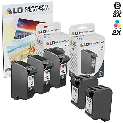 LD  Remanufactured Ink Cartridge Replacements for HP C6615DN (HP 15) Black and HP C6625AN (HP 17) Color (3 Black and 2 Color) + Free 20 Pack of Brand 4x6 Photo Paper