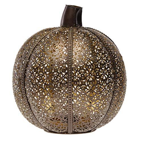 Filigree Metal Bronze Pumpkin Pillar Candle Holder