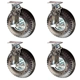 Service Caster - 10'' Black Pneumatic Rubber Wheel - 4 Swivel Casters w/Brakes - Set of 4