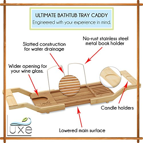 Luxe Expandable Bamboo Bathtub Caddy Adjustable Wooden Serving Tray & Organizer w Book Reading Rack, Wine Glass Holder by Luxe (Image #5)