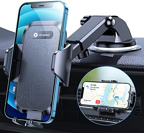 VICSEED [Ultimate Stable] Cell Phone Holder for Car, [Super Power Suction] Adjustable Car Phone Holder Mount Dashboard Windshield Air Vent Hands Free Phone Mount Car, Fit with iPhone 12 Pro Galaxy S20