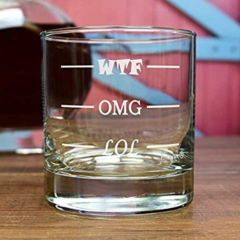 Fineware LOL-OMG-WTF Funny Rocks Glass – Finally a Rocks Glass for Every Mood! 11 oz Highball Glass