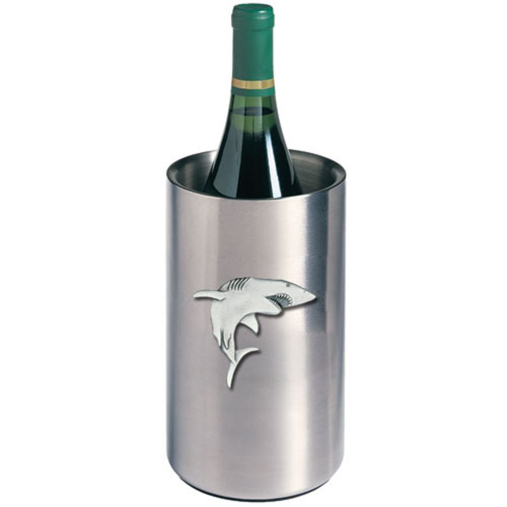 ANIMAL, FISH, SHARK WINE CHILLER, This is a wine chiller made of double-wall insulated stainless steel with a fine pewter logo medallion bonded to the front.