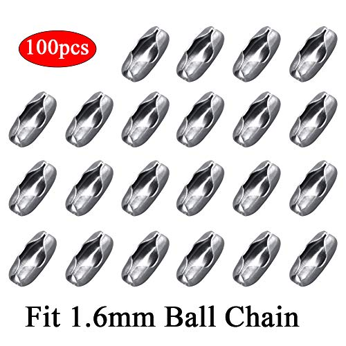 - KINGOU 1.6mm Ball Chain Connectors Stainless Steel Bead Chain Clasps 100pcs