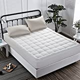 INGALIK Hotel Luxury Collection Quilted Fitted Mattress Topper Down Alternative Overfilled Mattress Pad Bed Cover Stretches up to 21 Inches Deep by (King 78x80x18inch)