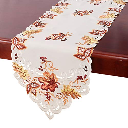 Embroidered Runner - GRELUCGO Elegant Thanksgiving Holiday Table Runner, Embroidered Maple Leaves Fall Table Linen, 15 By 120 Inch