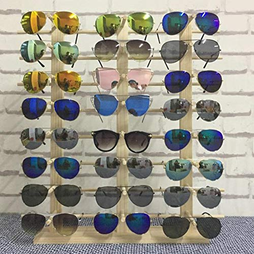 Rack Holder Glass - Z.N.Z Wood Sunglasses Stand Jewelry Organizer Woods Jewelry Stand Glasses Holder Glasses Rack Jewelry Display Wooden Rack (Three Row 24 Pair)