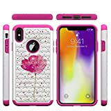 iPhone XS Max Case,2 in 1 Hybrid Case Back Cover Hard PC with Colorful Pattern & Point Drill Inner Soft TPU Bumper Impact Resistant Case Compatible with Apple iPhone XS Max [6.5 inch] -Flower