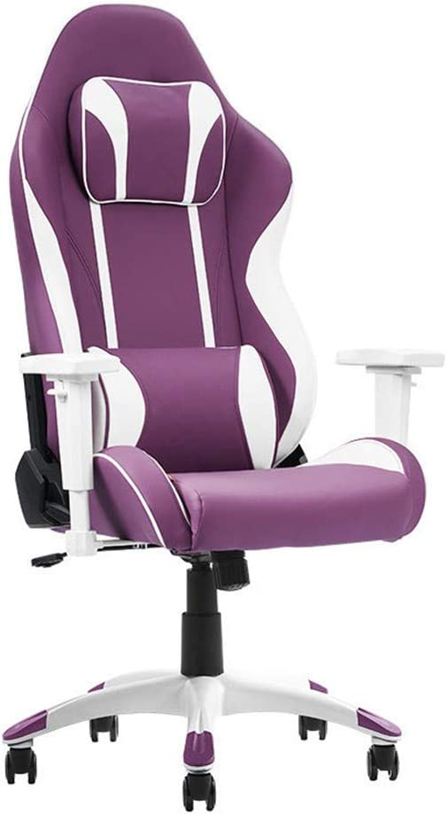 ZXWCYJ Gaming Chair, Ergonomic High Backrest and Seat Height Adjustment Recliner Swivel Rocker, with Headrest and Lumbar Support, 250Kg Weight Limit,Purple