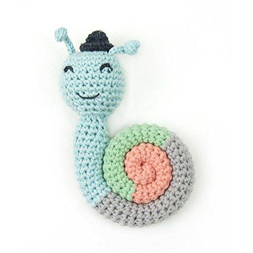 Snail Rattle - Weegoamigo Crochet Rattle - Sneaky Snail, Multi