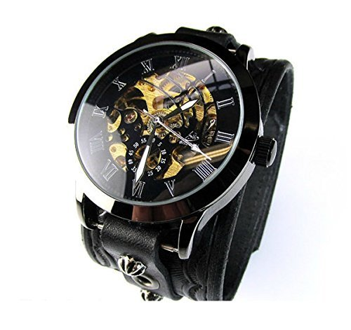 Watch Cuff, Wristwatch, Leather Cuff Watch, Men's Watch, Steampunk Watch, Black Watch, Leather Watch, Skeleton Watch, Vilon Leather - 13S-1 by Vilon Leather