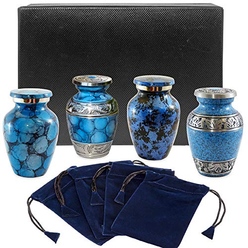Forever Remembered Classic Blue Small Mini Cremation Keepsake Urns for Human Ashes - Find Peace and Comfort Everytime You Look at These Beautiful Urns - with Satin Lined Case and 4 Velvet Bags