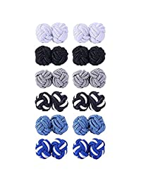 BodyJ4You 6-12 Pairs Silk Knot Cufflinks for Men and Women Shirt Unique Gift Set