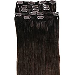 Clip Hair Extension, Grammy 20 Inch Straight Full Head Remy Clips in Human Hair Extensions 100% Real Human Hair For Highlight 7pcs 70g (#02 Dark Brown)