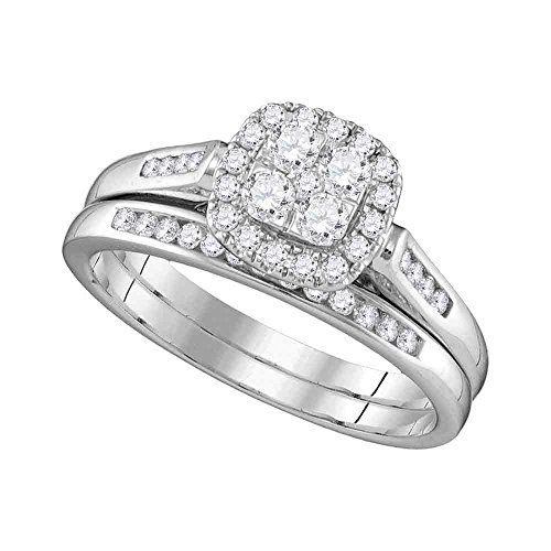 Jewels By Lux 14kt White Gold Womens Round Diamond Cluster Bridal Wedding Engagement Ring Band Set 1/2 Cttw = 0.5 (I1-I2 clarity; H-I color) Ring Size 6.5
