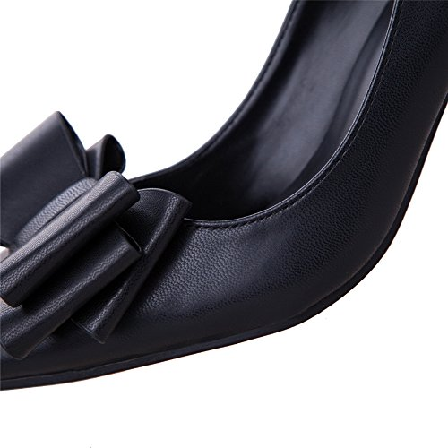 AdeeSu Womens Bows Spikes Stilettos Low-Cut Uppers Urethane Pumps Shoes Black SVKhx