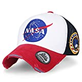 ililily NASA Meatball Logo Embroidery Baseball Cap Apollo 1 Patch Trucker Hat, Red & White