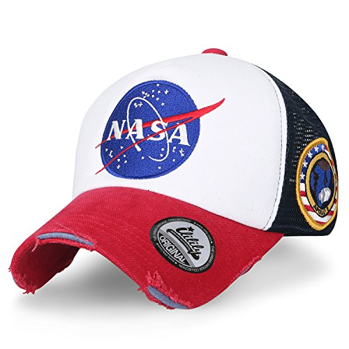 Distressed Logo Cap - ililily NASA Meatball Logo Embroidery Baseball Cap Apollo 1 Patch Trucker Hat (XL, Red&White_XL)