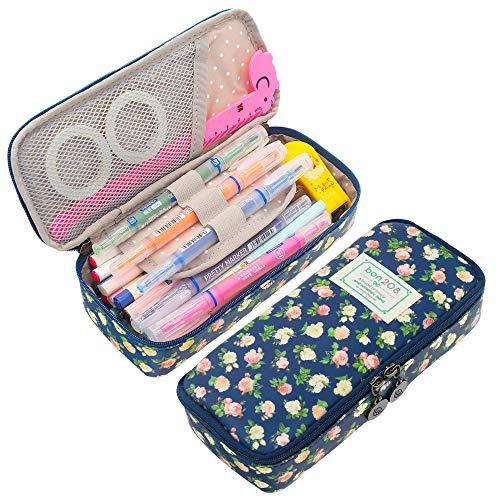 Twinkle Club Floral Pencil Case Pencil Pouch Cute School Supplies Pen Holder for Girls Cyan ()