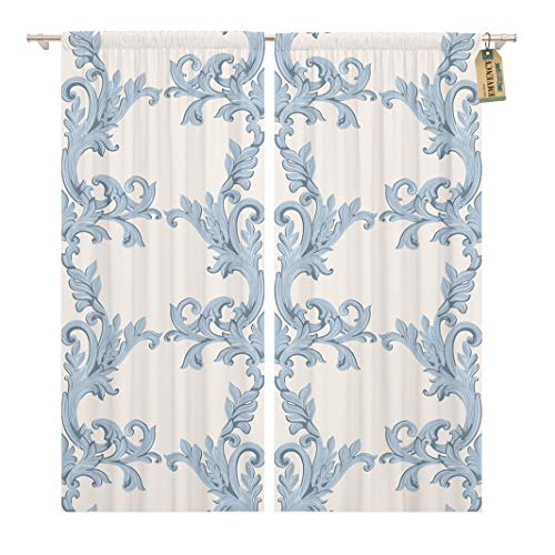 Golee Window Curtain Vintage Baroque Damask Floral Pattern Acanthus Imperial Luxury Classic Home Decor Rod Pocket Drapes 2 Panels Curtain 104 x 96 inches