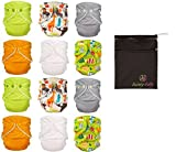 FuzziBunz® One Size Adjustable Cloth Diapers 12 Pack Gender Neutral Colors with Dainty Baby Wet Bag Bundle, Colors May Vary
