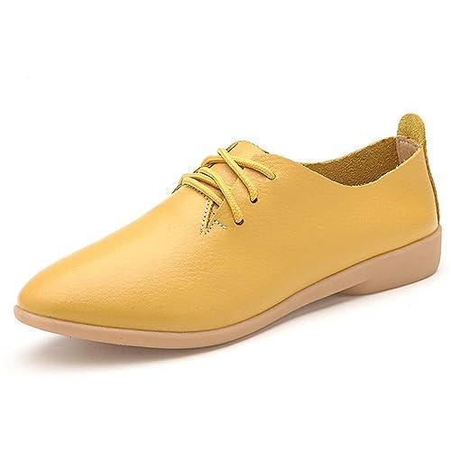 Mocasines de Mujer de Cuero Mocasines Mujer Zapatos Casual con Encaje conducción Mocasines de Gran tamaño de Las señoras Pisos: Amazon.es: Zapatos y ...