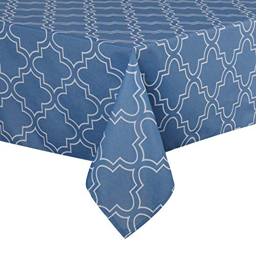 (ColorBird Elegant Moroccan Tablecloth Waterproof Spillproof Polyester Fabric Table Cover for Kitchen Dinning Tabletop Decoration (Rectangle/Oblong, 60 x 120 Inch, Stone Blue))
