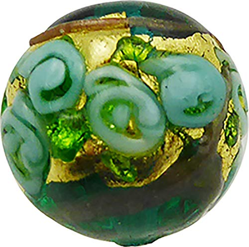 - Murano Glass Bead Bed of Roses Exterior Gold Foil Round 14mm Green with Aqua Roses