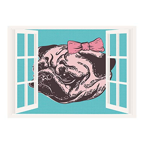 SCOCICI Creative Window View Home Decor/Wall Décor-Pug,Blue Background with The Cute Pug and Its Pink Buckle Adorable Animal Design Pet Print Decorative,Blue Pink/Wall Sticker Mural (Buckle Elvis)