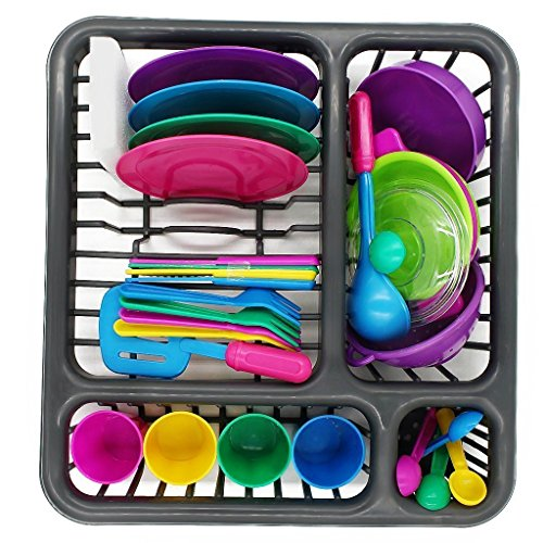 Bright Kitchen Play - Childrens Durable Kitchen Toys Tableware Dishes Play set (27 Pcs)