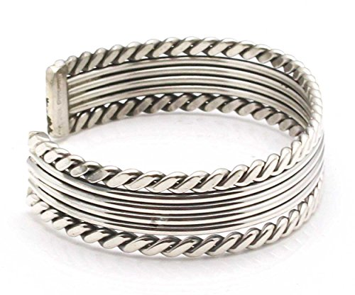 Silver Cuff By Navajo Artist Elaine Tahe (5.25'' tip to tip x 1/2'' wide) by L7 Enterprises (Image #2)
