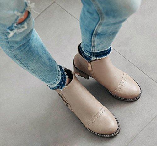 KUKI Herbst Frauen Stiefel niedrige Taille und Frauen Schuhe Student Stiefel atmungsaktiv Casual Schuhe große Größe Frauen Stiefel billig Stiefel beige