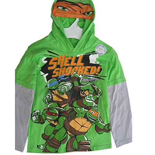 Nickelodeon Little Boys Green Gray Ninja Turtles Hooded Long Sleeve T-Shirt - Green Leggings Ninja Turtle