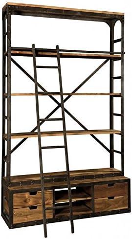 Estantería industrial de madera de olmo y estructura de hierro, escalera incluida. Mobile compuesto de 4 cajones, 2 compartimentos abiertos y 3 estantes. Producto hecho artigianalmente. Tamaños cm 152 x 46 H