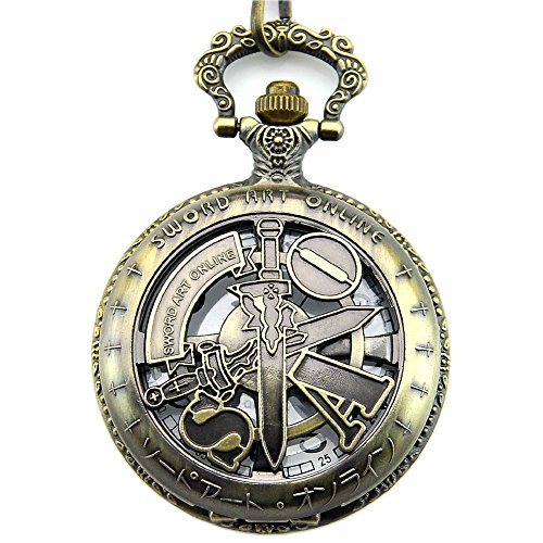 Engraved Sword Art Online Pocket Quartz Men's Watch with Chain with Gift Box
