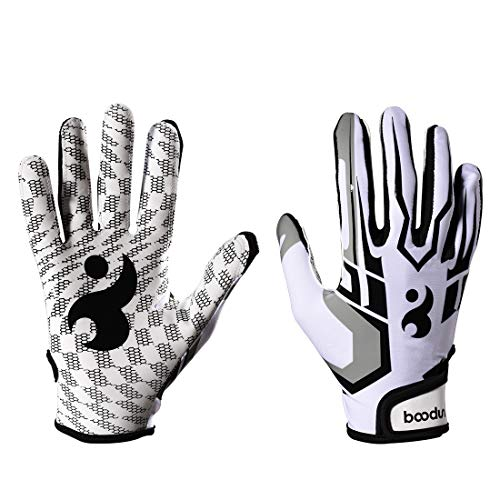 Football Gloves Baseball/Softball Batting Gloves Super Grip Finger Fit for Adult and Youth (White, L)