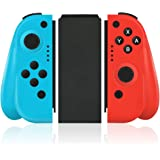 Wireless Joy Pad Controller for Nintendo Switch, Replacement Joy Con with Redesigned Ergonomic Hand Grip Comfortable Handheld Gamepad Joy-Con Remote (Neon Red & Neon Blue)