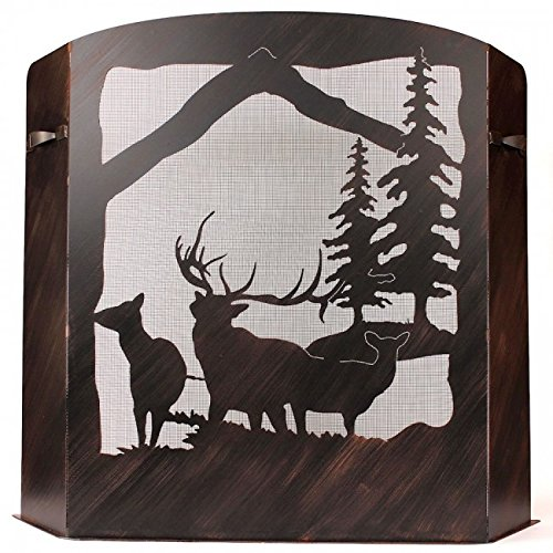 Coast Lamp Manufacturer 15-R29C-S Small Iron ELK Scene Fireplace Screen - Burnt Sienna (Fireplace Fancy Iron)