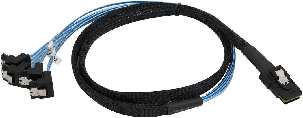 uxcell 1M Mini SAS 36P SFF-8087 to 4 x Right Angle SATA 7P HDD Hard Drive Cable Blue